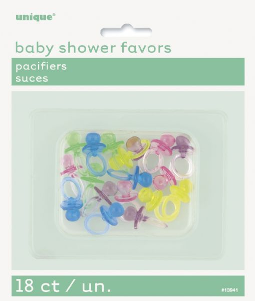 Assorted Colour Pacifiers Favours (18)